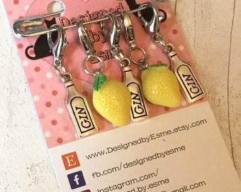 Gin drinker stitchmarkers, gin drinker gift, gin stitch markers, progress keepers , gift for a knitter, for a crocheter, gin lover gift