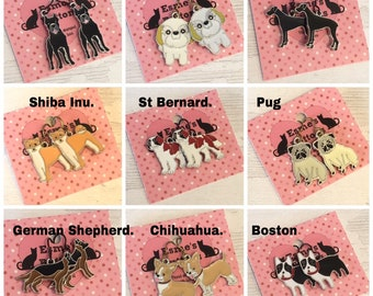 Enamel Dog earrings, niobium earwires, cane corso, shih tzu, Great Dane, Shiba Inu, St. Bernard, pug, German Shepherd, Chihuahua , Boston,