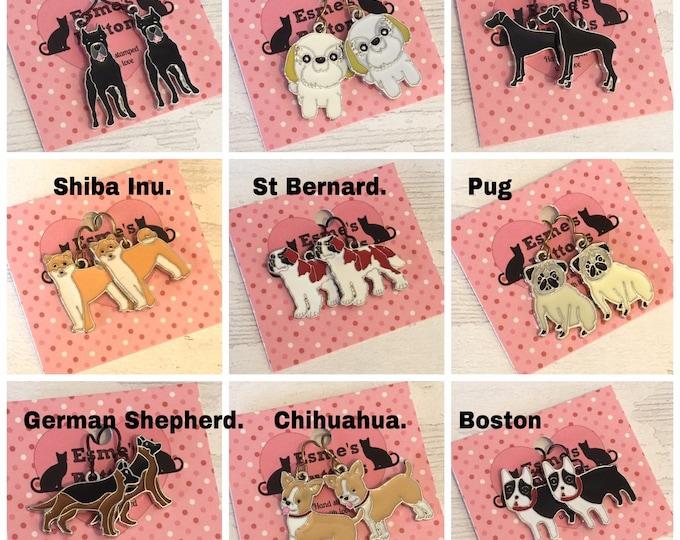 Enamel Dog earrings, niobium earwires, cane corso, shih tzu, Great Dane, Shiba Inu, St. Bernard, pug, German Shepherd, Chihuahua , Boston,