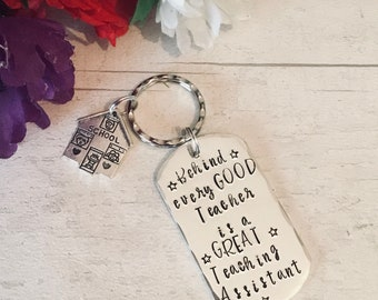 Teaching Assistant keyring, teaching assistant gift, TA gift, End of year gift, Hand stamped, Thank you gift, Gift for Her, Gift for him, UK