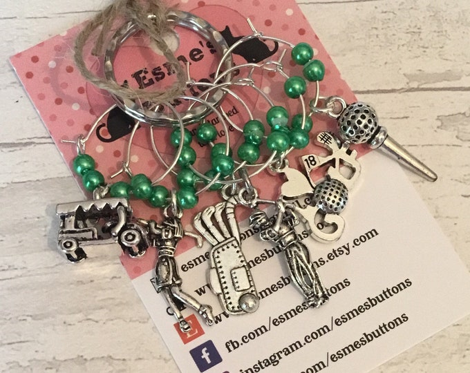 Golf Wine glass charms, Golf charms, Anniversary gift, Wedding gift, Birthday gift, for teacher, for friend,