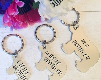 Family bear gifts, Brothers gift, family gift, Big Brother bear, Middle Brother bear, Little Brother bear, Hand stamped gift, family gift,