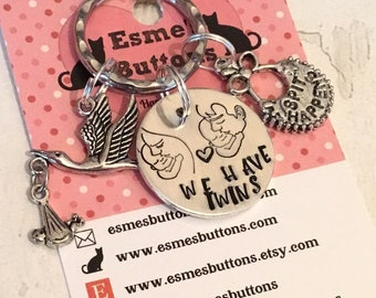 Parents of twins gift, twins keyring, twins gift, Hand Stamped gift, Gift for Mummy of twins,  gift for Daddy of twins,