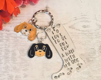 King Charles Spaniel dog walkers keyring, welly boot Keyring, out for a walk with my dog, hand Stamped, bag charm, gift for him, for her,