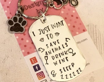 Veterinarian Nurse key ring, nurse gift, graduate nurse gift, vet nurse gift, Hand Stamped, gift for a nurse, gift for her, gift for him,