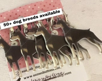 Doberman dog stitch markers, doberman dog knitters, doberman crocheters, stitch markers, for a knitter, for a crocheter, doberman dog gift,