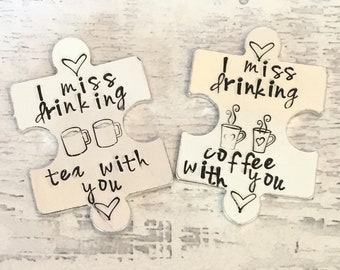 Virtual hug token,I miss drinking tea with you, coffee with you, lockdown, Hand Stamped, friends apart, separated couples, I miss you,