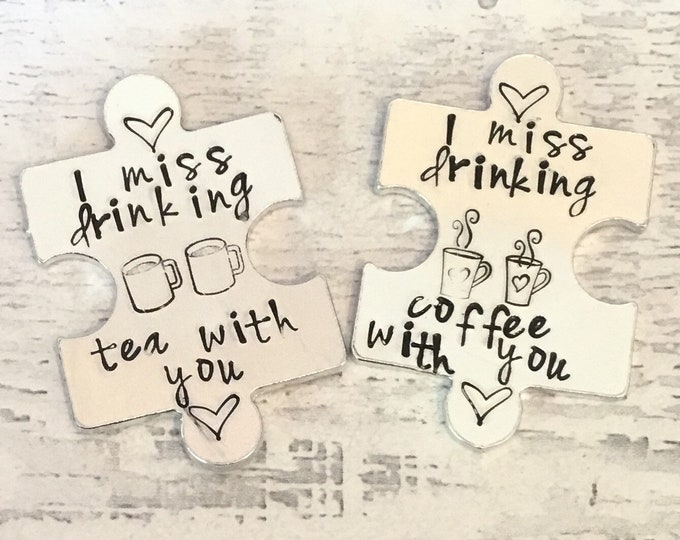 Featured listing image: Virtual hug token,I miss drinking tea with you, coffee with you, lockdown, Hand Stamped, friends apart, separated couples, I miss you,