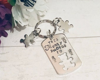 This Mummy Belongs to Keyring, Mothers Day Keyring gift, Hand Stamped, Gift for mummy, for Mom, for Mum, for Momma