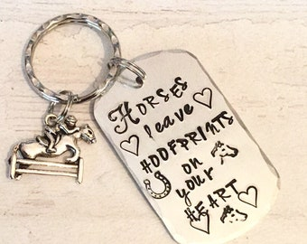 Horse Bereavement gift, Horse gift, remembrance, Horses leave hoofprints on your heart, Hand Stamped, Key chain, for her, for him