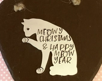 Cat Slate heart, Christmas gift, Cat personalised gift, handstamped cat, wall decor, home decor, wall hanging, gift for her, for him,