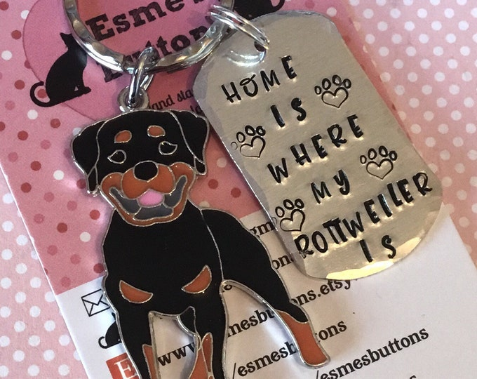 Home is where my Rottweiler dog is keyring, Rottweiler gift, dog keychain, hand Stamped Key Ring, gift for him, gift for her,