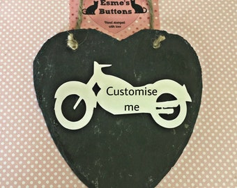 Personalised Slate heart, motorbike gift, for Dad, Father's  Day, gift for a biker, gift for Dad, wall hanging, gift for him, for her,