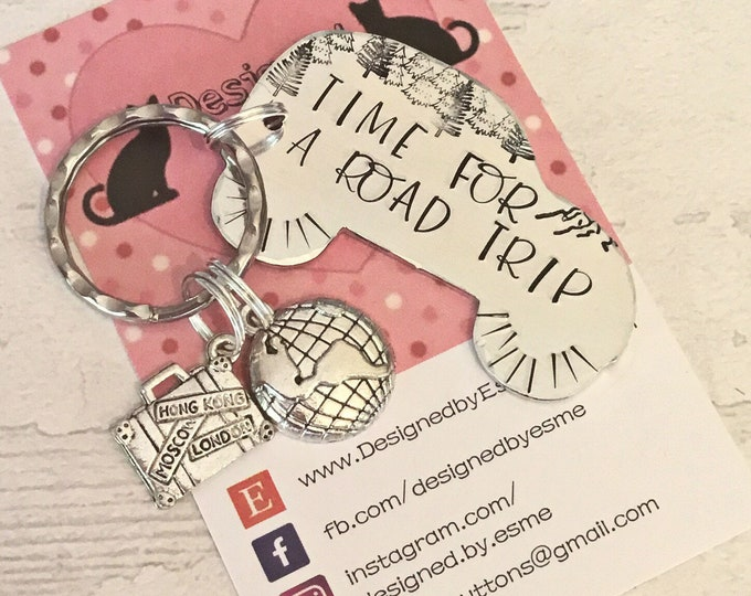 New driver Keyring, road trip gift, newly qualified driver, passed my driving test, adventure gift, hand stamped,