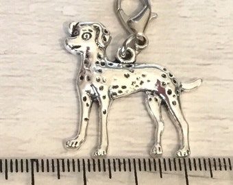 Dalmatian charm, add on, zip pull, silver tone, dalmatian gift, dog charms