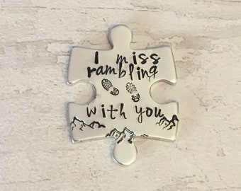 Virtual hug token,I miss rambling with you, lockdown, Hand Stamped, friends apart, separated couples, rambling buddies, I miss you,
