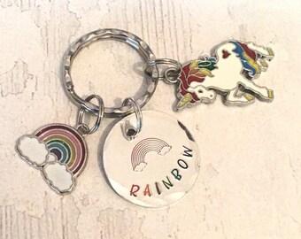 Rainbow keyring, LGBTQ gift for her, gift for him, rainbow unicorn, rainbow gift,