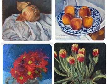 Set of 4 Still life greetings cards by Mark the Artist