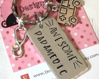 Awesome Paramedic key ring, medical gift, ambulance driver gift, Hand Stamped, gift for a paramedic, emergency services, for her, for him,