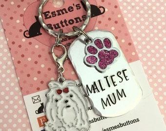 Maltese dog Keyring, Maltese mum gift, maltese dad, father's Day gift, Hand Stamped, Key Ring, dog lover gift, gift for him, gift for her,