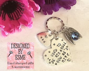 Dad Memorial gift, I used to be his angel now he's mine, Bereavement keyring, loss of a parent, miss you Dad, Mum,