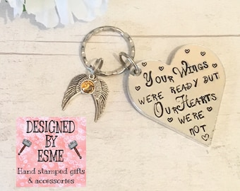 Memorial gift, your wings were ready, our hearts were not,Bereavement keyring, loss of a close relative, death in the family, sympathy gift,