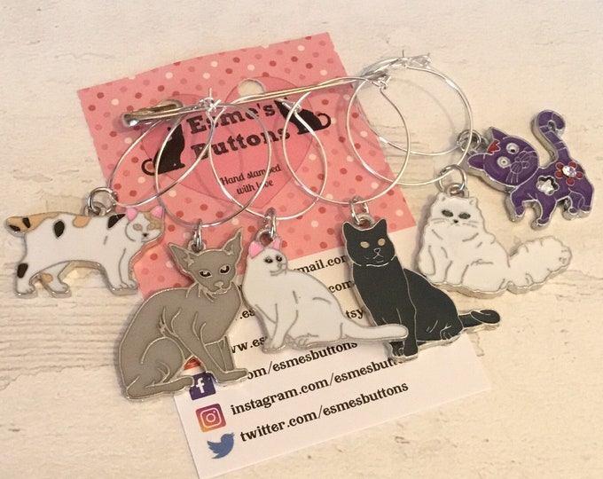 Cat themed wine glass charms, gift for a cat owner, cat lover wine glass charms, cat owner gift, gift for a cat person, cat wine glass charm