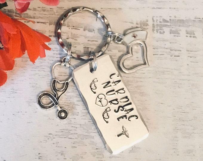 Cardiac Nurse keyring, graduate cardiac nurse gift, medical student gift, gift for a cardiology nurse, gift for her, gift for him
