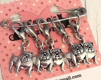 English Bulldog dog stitch markers, bulldog gift, crochet stitch markers , knitter stitch markers, gift for a knitter, knitting gift,