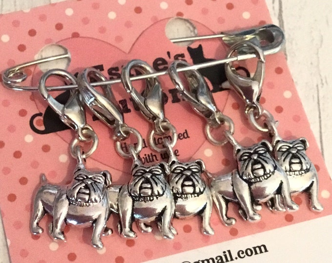 English Bulldog dog stitch markers, bulldog gift, crochet stitch markers , knitter stitch markers, gift for a knitter, knitting gift,