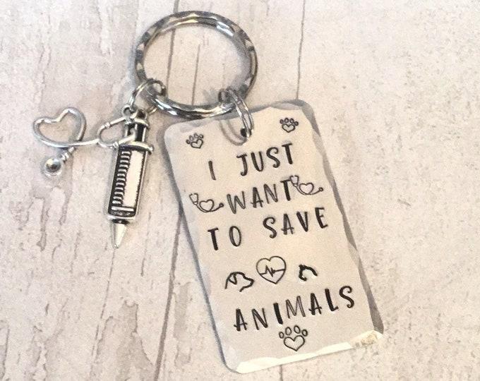 Vet Nurse key ring, nurse gift, graduate nurse gift, veterinarian gift, Hand Stamped, gift for a nurse, gift for her, gift for him,