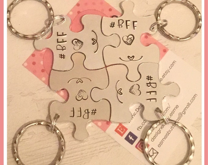 BFF interlocking puzzle pieces keyrings, gift for parting friends, end of school, separated friends, besties, best friends forever