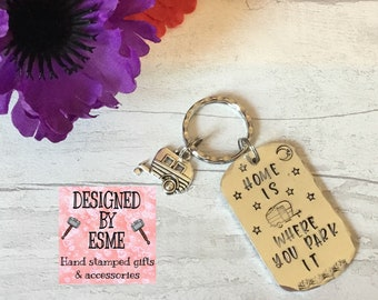 Caravan keyring, Adventure gift, camping keyring, camping gift,husband gift, wife gift, boyfriend gift, girlfriend gift, hand stamped,