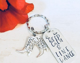 Line Dancing gift, keep calm and line dance, Hand Stamped bag charm, Key chain, gift for her, gift for him, UK seller,