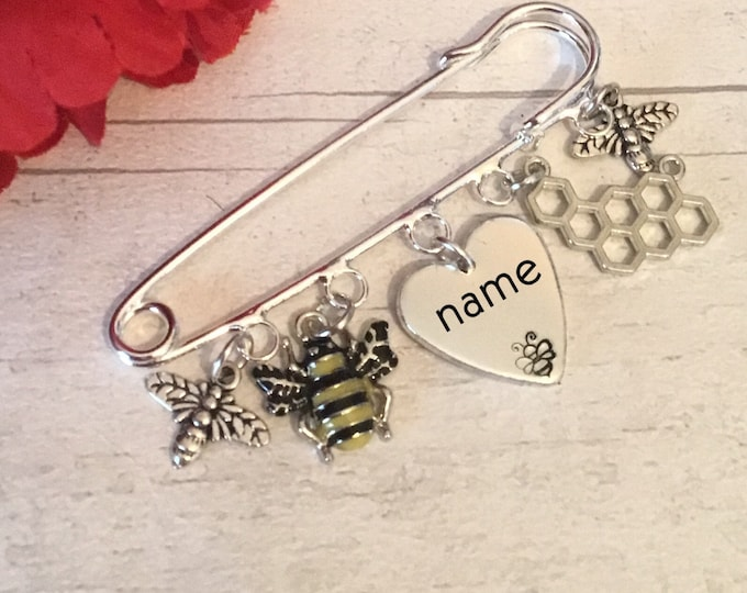 Personalised Bee kilt pin brooch, sweater pin, gift for a beekeeper, honeycomb, bees make honey, bee lover gift, for her, for him,