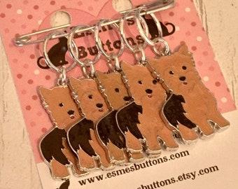 Yorkshire Terrier dog stitch markers, Yorkie knitters,  Yorkie crocheters, stitch markers, gift for a knitter, gift for a crocheter