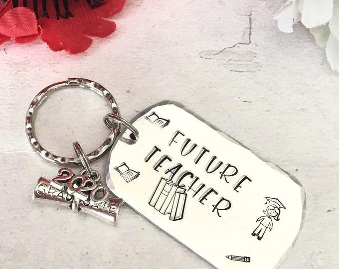 Future Teacher keyring, student teacher gift, Graduate teacher gift, Hand stamped, Gift for Her, Gift for him
