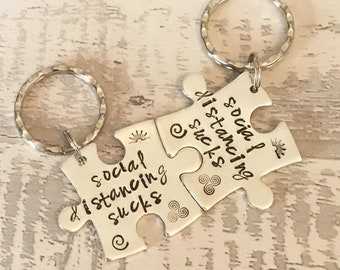 SOCIAL DISTANCING SUCKS, lockdown, Hand Stamped, Lovers apart,separated couples, long distance relationship