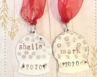Named Christmas tree snow globe, personalised gift, handstamped, tree ornament, Christmas stamps, reindeer, holly, elf hat, Santa hat,