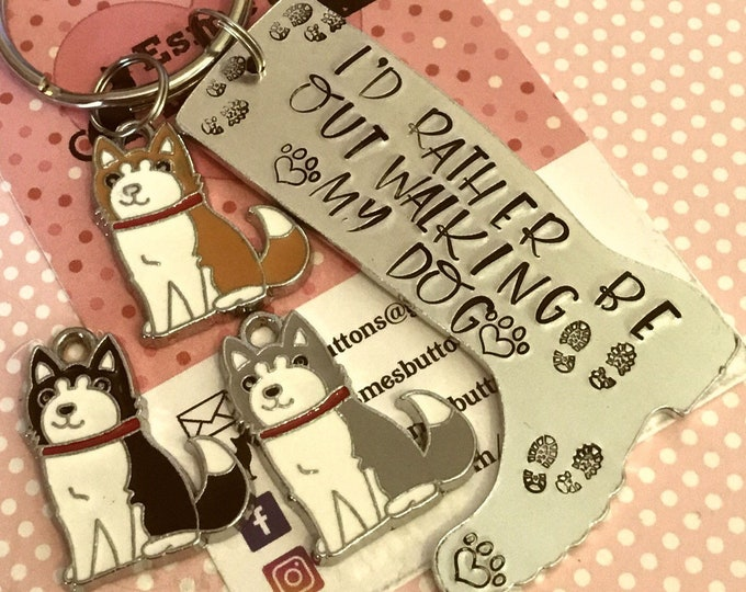 Malamute dog keyring, malamute dog keyring gift, malamute keyring, malamute keychain, walking my dog, wellie boot keyring,