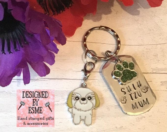 Shih Tzu Keyring, Shih Tzu gift, Shih Tzu Mom, Fathers  Day gift, Hand Stamped, Key Ring, dog lover gift, gift for him, gift for her