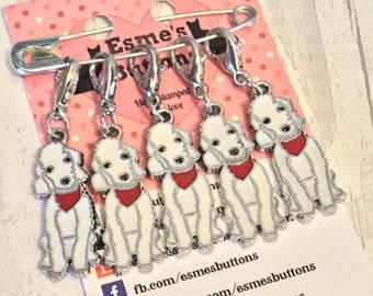 Bedlington dog stitch markers, Bedlington gift, Bedlington knitters, Bedlington crocheters, stitch markers, gift for knitter, gift for croch