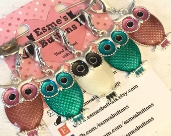 Owl stitch markers, owl stitchmarkers, progress keepers, owl gift, gift for a knitter, gift for a crocheter,
