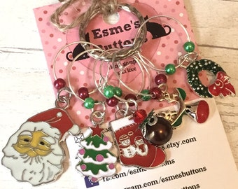 CHristmas WIne glass charms,wINE glass markers, gift for a wine lover, wine drinker, wine lover gift, Christmas Gift