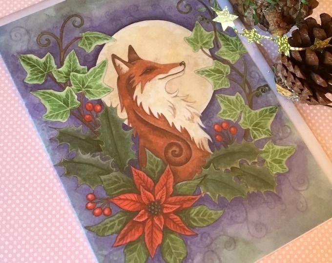 Yule Card, pagan Card, Christmas card, Fox Card, Celtic Card, Card for her, card for him, Greetings Card , Esther Remmington