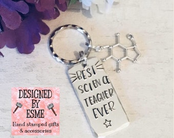 Science Teacher keyring gift, best science lecturer ever, chemistry graduate, science student, End of year gift, Hand stamped,