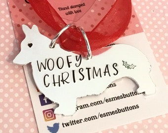 Corgi Christmas tree gift, Dog personalised gift, handstamped dog, home decor, gift for her, for him,