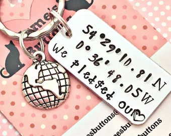 Valentine's  gift, Coordinates gift, couple gift, special place keychain, Hand Stamped,UK seller,coordinates, places,