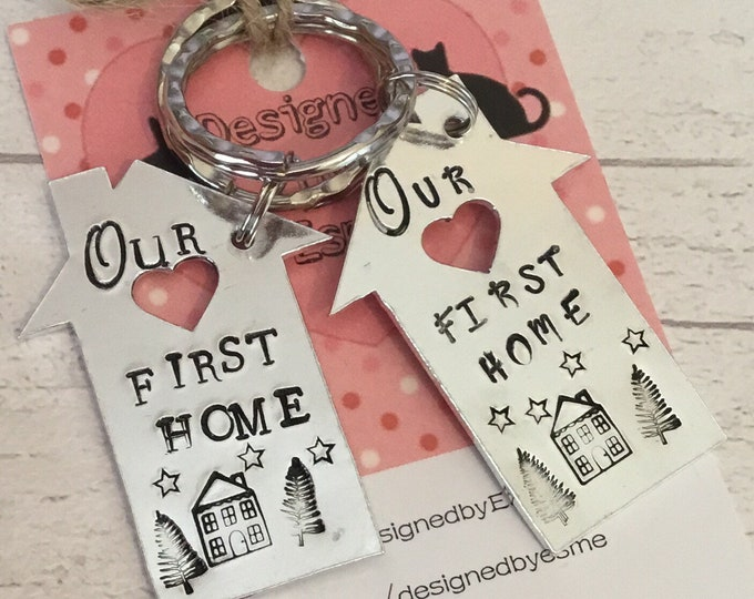 Our First home couple keychains, keys to the house, new home keys, moving in together, first home keychains, couple gift,