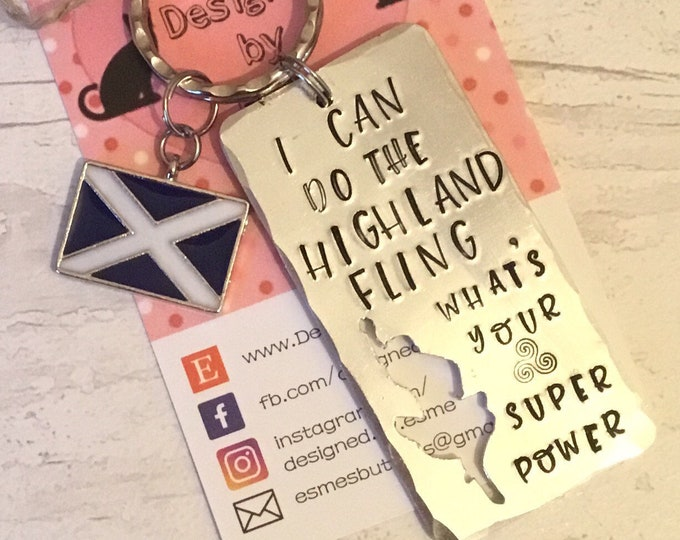 Highland Fling Dancer keyring, Scottish dance gift, dancing gift, Hand Stamped, Key chain, gift for her, gift for him,saltire, st Andrew